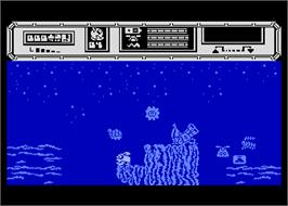 In game image of Star Quake on the Atari 8-bit.