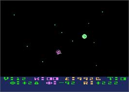 In game image of Star Raiders on the Atari 8-bit.