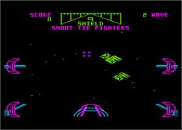 In game image of Star Wars: Return of the Jedi - Death Star Battle on the Atari 8-bit.