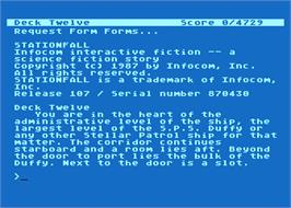 In game image of Stationfall on the Atari 8-bit.