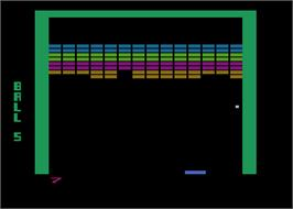 In game image of Super Breakout on the Atari 8-bit.