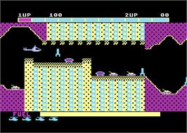 In game image of Super Cobra on the Atari 8-bit.