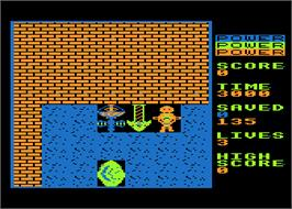 In game image of Survivors on the Atari 8-bit.
