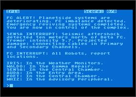 In game image of Suspended on the Atari 8-bit.
