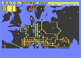 In game image of Theatre Europe on the Atari 8-bit.