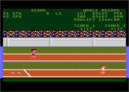 In game image of Track & Field on the Atari 8-bit.