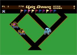 In game image of Up'n Down on the Atari 8-bit.