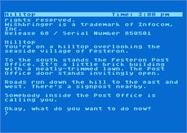 In game image of Wishbringer on the Atari 8-bit.