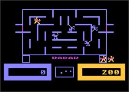 In game image of Wizard of Wor on the Atari 8-bit.
