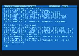 In game image of Zork II: The Wizard of Frobozz on the Atari 8-bit.