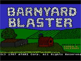 Title screen of Barnyard Blaster on the Atari 8-bit.