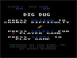 Title screen of Dig Dug on the Atari 8-bit.