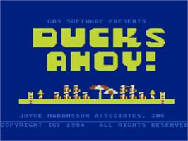 Title screen of Ducks Ahoy on the Atari 8-bit.