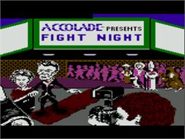 Title screen of Fight Night on the Atari 8-bit.