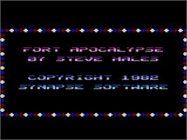 Title screen of Fort Apocalypse on the Atari 8-bit.