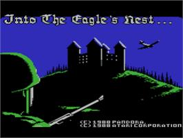 Title screen of Into the Eagle's Nest on the Atari 8-bit.