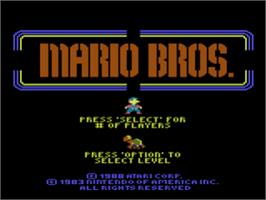 Title screen of Mario Bros. on the Atari 8-bit.