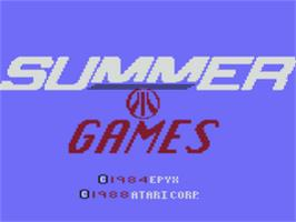 Title screen of Summer Games on the Atari 8-bit.