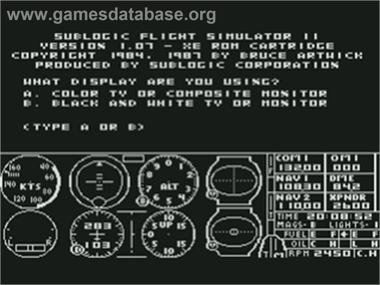 Title screen of Flight Simulator 2 on the Atari 8-bit.
