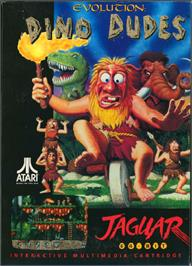 Box cover for Evolution: Dino Dudes on the Atari Jaguar.
