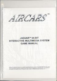 Box back cover for AirCars on the Atari Jaguar.