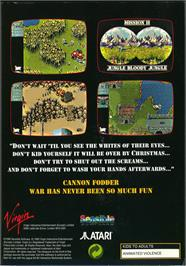 Box back cover for Cannon Fodder on the Atari Jaguar.