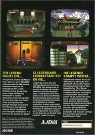 Box back cover for Dragon: The Bruce Lee Story on the Atari Jaguar.