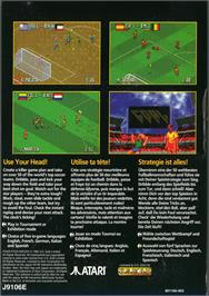 Box back cover for Fever Pitch Soccer on the Atari Jaguar.
