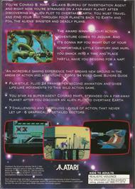 Box back cover for Flashback on the Atari Jaguar.