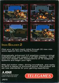 Box back cover for Iron Soldier 2 on the Atari Jaguar.