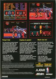 Box back cover for NBA Jam TE on the Atari Jaguar.