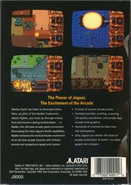Box back cover for Raiden on the Atari Jaguar.