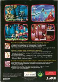Box back cover for Rayman on the Atari Jaguar.