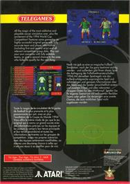 Box back cover for Sensible Soccer: International Edition on the Atari Jaguar.