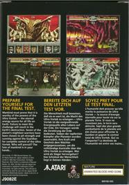 Box back cover for Ultra Vortek (Beta) on the Atari Jaguar.