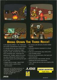 Box back cover for Wolfenstein 3D on the Atari Jaguar.