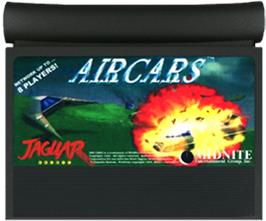 Cartridge artwork for AirCars on the Atari Jaguar.