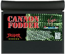 Cartridge artwork for Cannon Fodder on the Atari Jaguar.