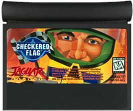 Cartridge artwork for Checkered Flag on the Atari Jaguar.