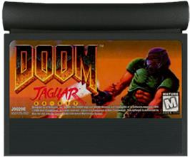 Cartridge artwork for Doom on the Atari Jaguar.