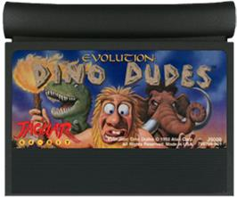 Cartridge artwork for Evolution: Dino Dudes on the Atari Jaguar.