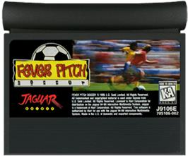 Cartridge artwork for Fever Pitch Soccer on the Atari Jaguar.