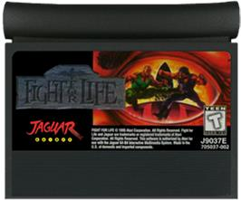 Cartridge artwork for Fight For Life on the Atari Jaguar.