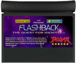 Cartridge artwork for Flashback on the Atari Jaguar.