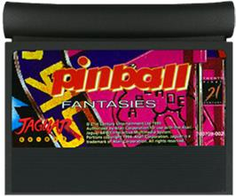 Cartridge artwork for Pinball Fantasies on the Atari Jaguar.