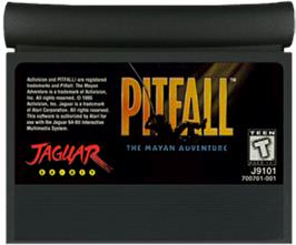 Cartridge artwork for Pitfall: The Mayan Adventure on the Atari Jaguar.