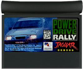 Cartridge artwork for Power Drive Rally on the Atari Jaguar.