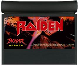 Cartridge artwork for Raiden on the Atari Jaguar.