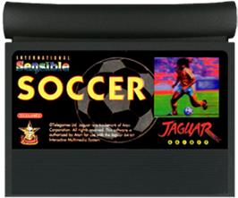 Cartridge artwork for Sensible Soccer: International Edition on the Atari Jaguar.