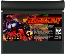 Cartridge artwork for Super Burnout on the Atari Jaguar.